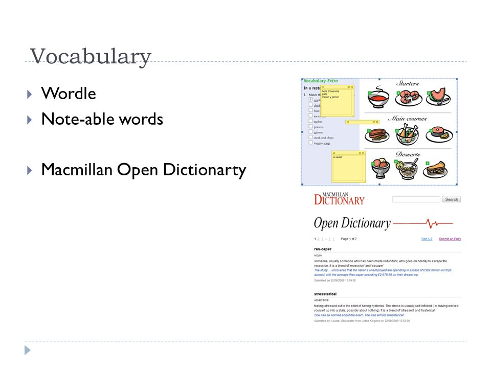 Vocabulary Wordle Note-able words Macmillan Open Dictionarty