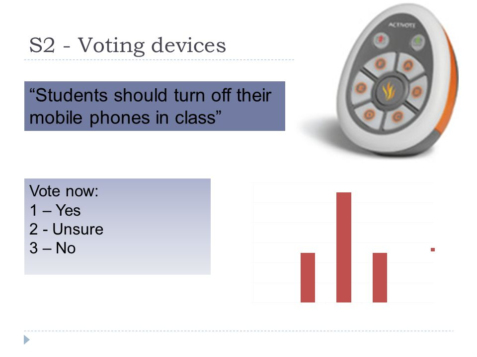 S2 - Voting devices Students should turn off their mobile phones in class Vote now: 1 – Yes 2 - Unsure 3 – No