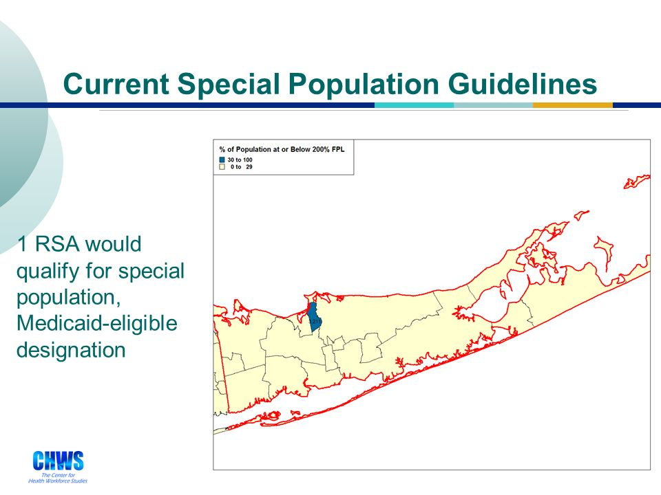 28 Current Special Population Guidelines 2 RSAs would qualify for special population, Medicaid-eligible designation