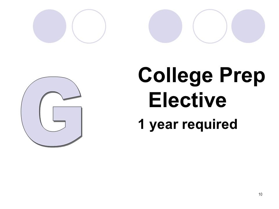 College Prep Elective 1 year required 10