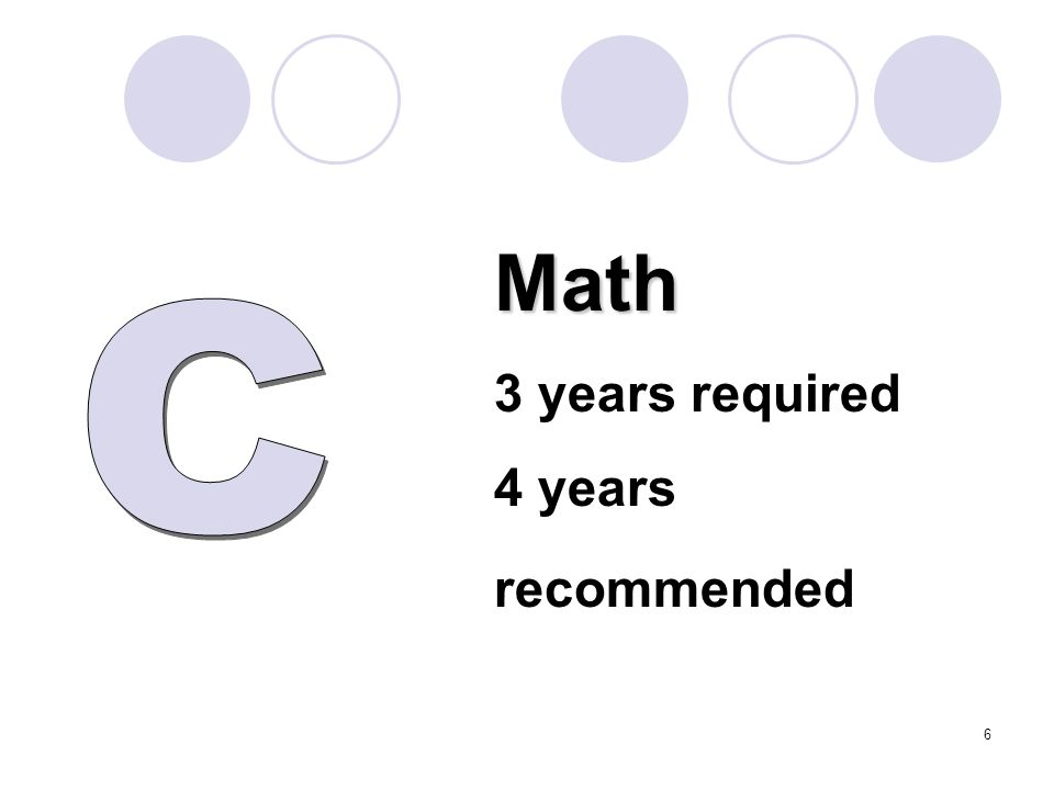 Math 3 years required 4 years recommended 6