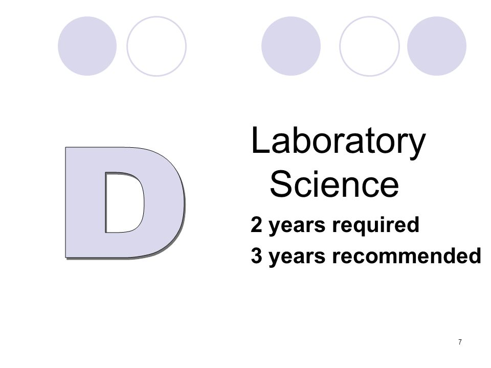 Laboratory Science 2 years required 3 years recommended 7