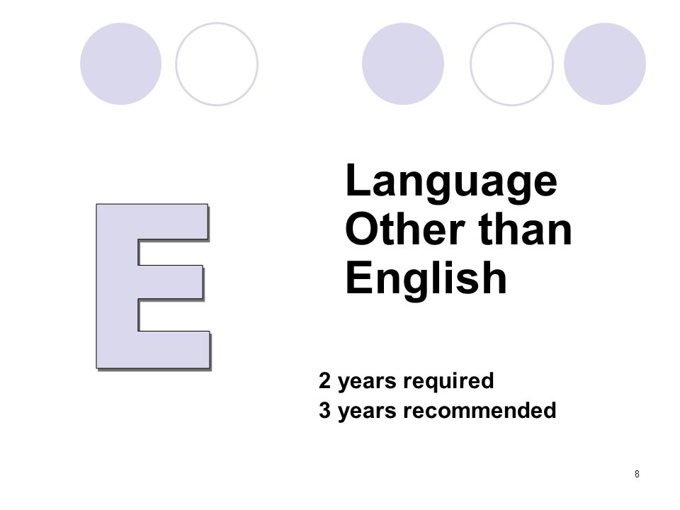Language Other than English 2 years required 3 years recommended 8