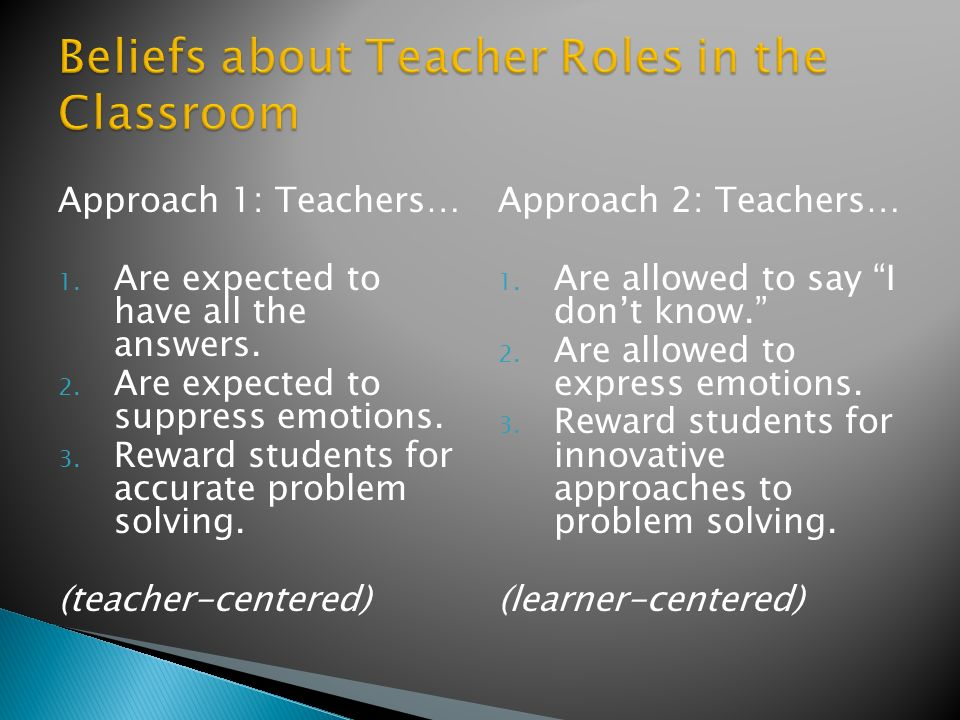Approach 1: Teachers… 1. Are expected to have all the answers.
