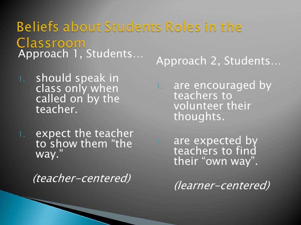 Approach 1, Students… 1. should speak in class only when called on by the teacher.
