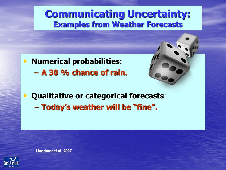 Communicating Uncertainty: Examples from Weather Forecasts Numerical probabilities: Numerical probabilities: –A 30 % chance of rain.