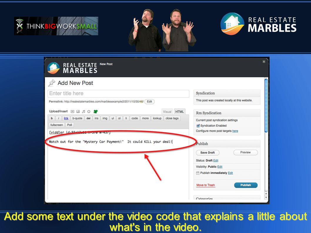 = == Add some text under the video code that explains a little about what s in the video.