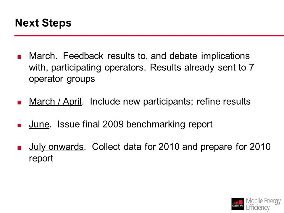Next Steps March. Feedback results to, and debate implications with, participating operators.