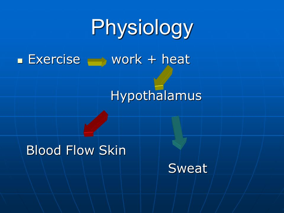 Physiology Exercise work + heat Hypothalamus Blood Flow Skin Sweat