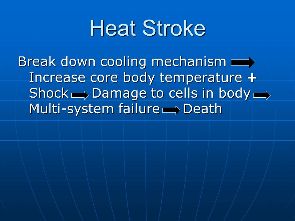 Heat Stroke Break down cooling mechanism Increase core body temperature + Shock Damage to cells in body Multi-system failure Death