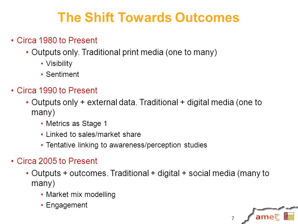 The Shift Towards Outcomes Circa 1980 to Present Outputs only.