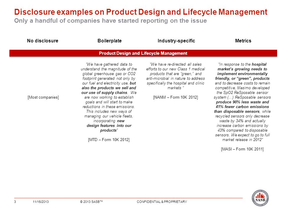 Disclosure examples on Product Design and Lifecycle Management Only a handful of companies have started reporting on the issue 11/15/2013© 2013 SASB CONFIDENTIAL & PROPRIETARY3 No disclosureBoilerplateIndustry-specific Metrics Product Design and Lifecycle Management We have gathered data to understand the magnitude of the global greenhouse gas or CO2 footprint generated not only by our fuel and electricity use, but also the products we sell and our use of supply chains.