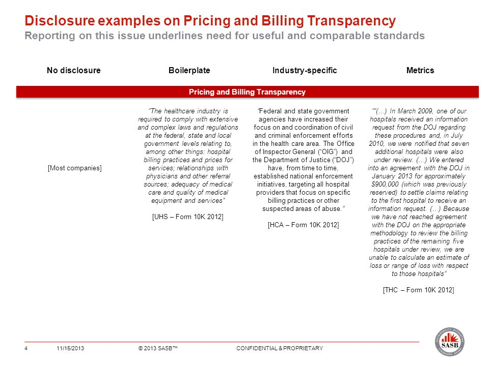 Disclosure examples on Pricing and Billing Transparency Reporting on this issue underlines need for useful and comparable standards 11/15/2013© 2013 SASB CONFIDENTIAL & PROPRIETARY4 No disclosureBoilerplateIndustry-specific Metrics Pricing and Billing Transparency The healthcare industry is required to comply with extensive and complex laws and regulations at the federal, state and local government levels relating to, among other things: hospital billing practices and prices for services; relationships with physicians and other referral sources; adequacy of medical care and quality of medical equipment and services [UHS – Form 10K 2012] (…) In March 2009, one of our hospitals received an information request from the DOJ regarding these procedures and, in July 2010, we were notified that seven additional hospitals were also under review.