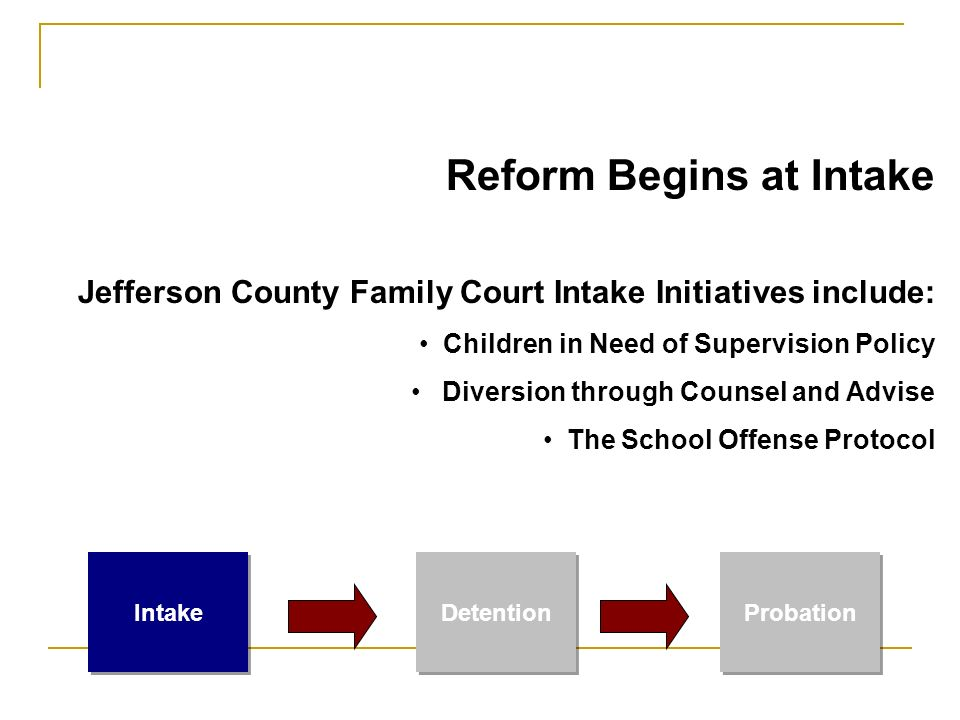 Reform Begins at Intake Jefferson County Family Court Intake Initiatives include: Children in Need of Supervision Policy Diversion through Counsel and Advise The School Offense Protocol Intake Detention Probation