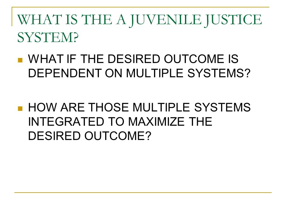 WHAT IS THE A JUVENILE JUSTICE SYSTEM.