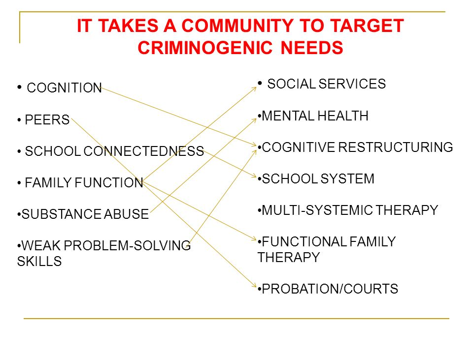 IT TAKES A COMMUNITY TO TARGET CRIMINOGENIC NEEDS COGNITION PEERS SCHOOL CONNECTEDNESS FAMILY FUNCTION SUBSTANCE ABUSE WEAK PROBLEM-SOLVING SKILLS SOCIAL SERVICES MENTAL HEALTH COGNITIVE RESTRUCTURING SCHOOL SYSTEM MULTI-SYSTEMIC THERAPY FUNCTIONAL FAMILY THERAPY PROBATION/COURTS