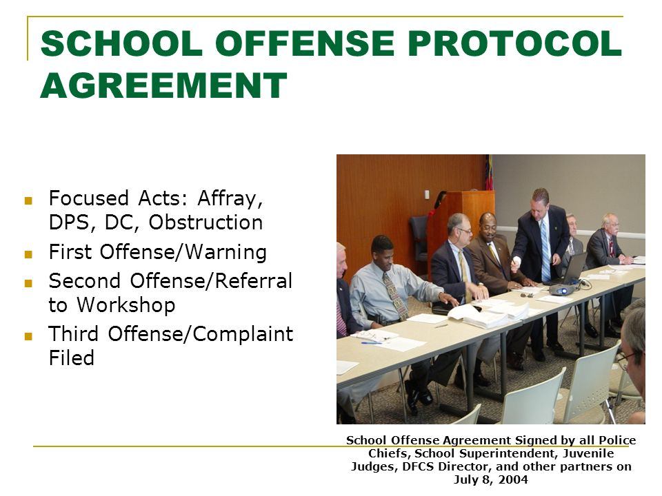 SCHOOL OFFENSE PROTOCOL AGREEMENT Focused Acts: Affray, DPS, DC, Obstruction First Offense/Warning Second Offense/Referral to Workshop Third Offense/Complaint Filed School Offense Agreement Signed by all Police Chiefs, School Superintendent, Juvenile Judges, DFCS Director, and other partners on July 8, 2004