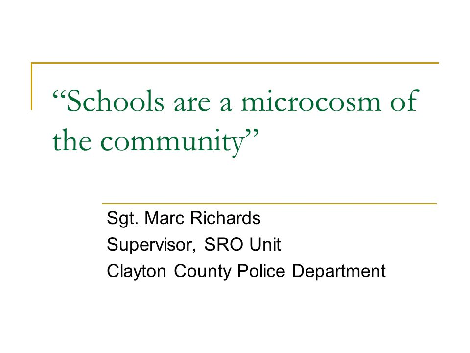 Schools are a microcosm of the community Sgt.