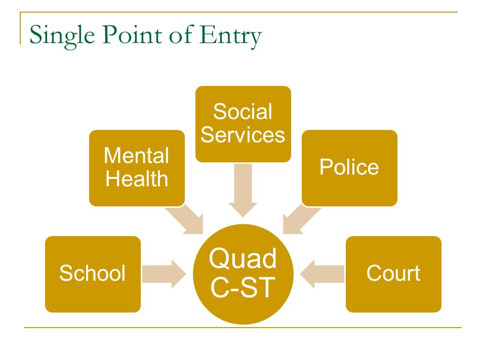 Single Point of Entry Quad C-ST School Mental Health Social Services PoliceCourt