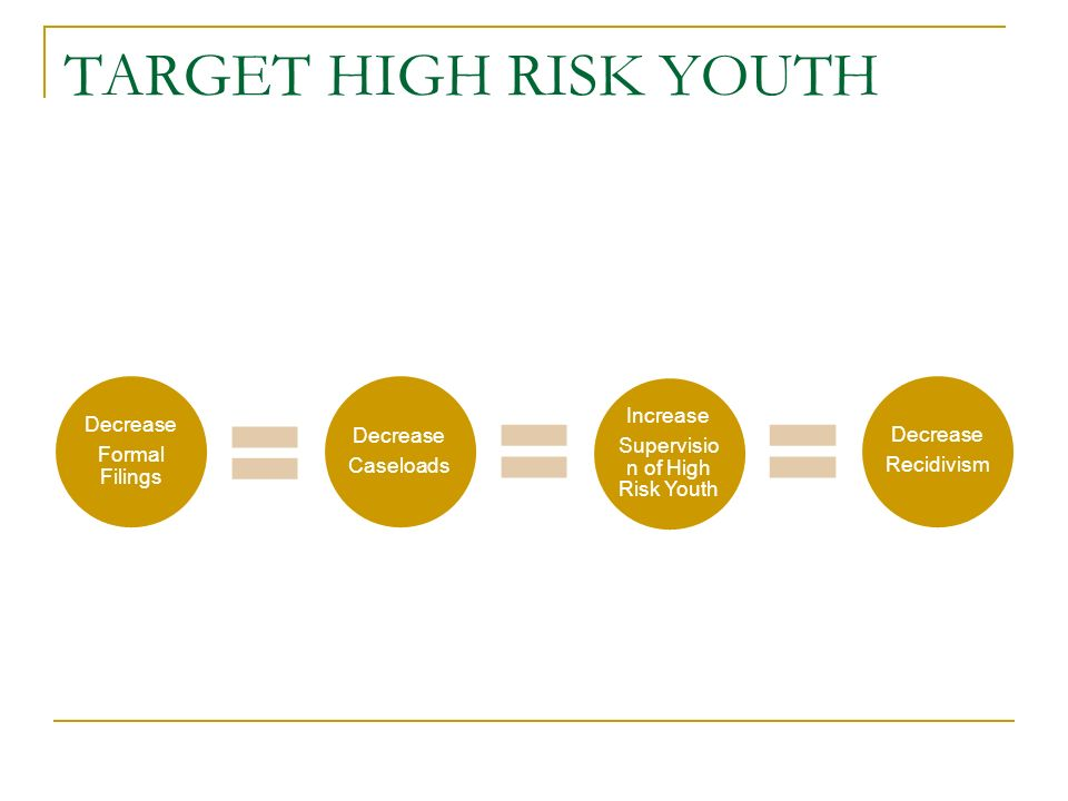 TARGET HIGH RISK YOUTH Decrease Formal Filings Decrease Caseloads Increase Supervisio n of High Risk Youth Decrease Recidivism