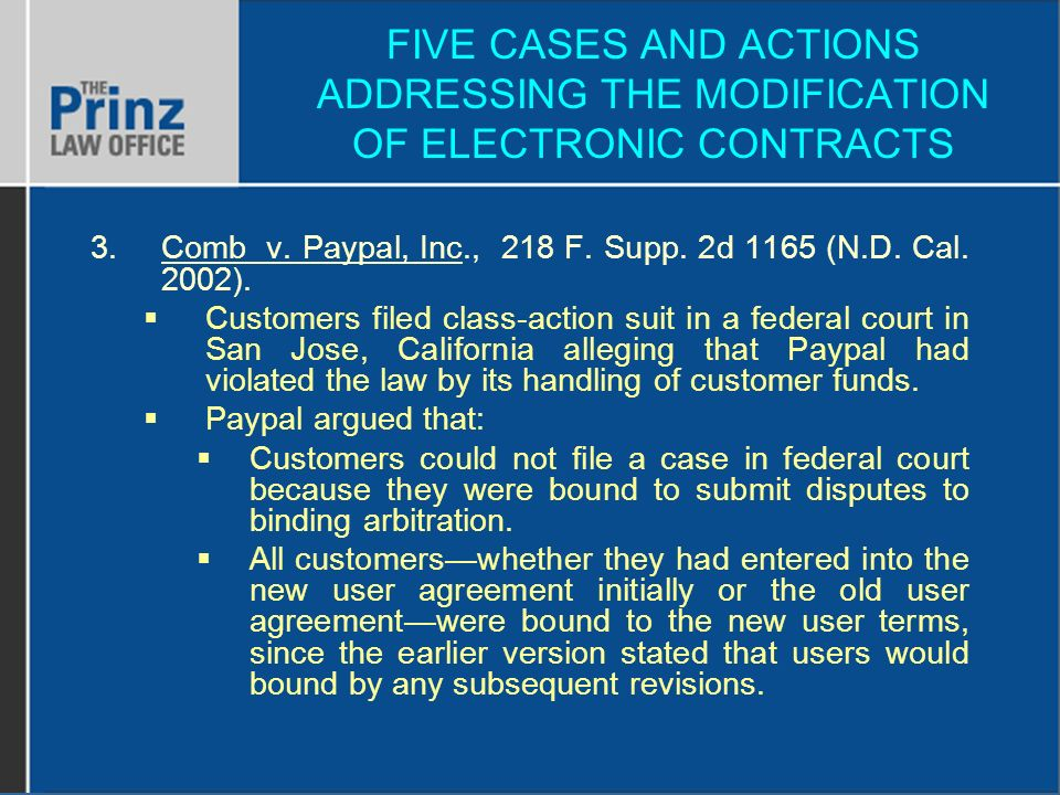 FIVE CASES AND ACTIONS ADDRESSING THE MODIFICATION OF ELECTRONIC CONTRACTS 3.Comb v.