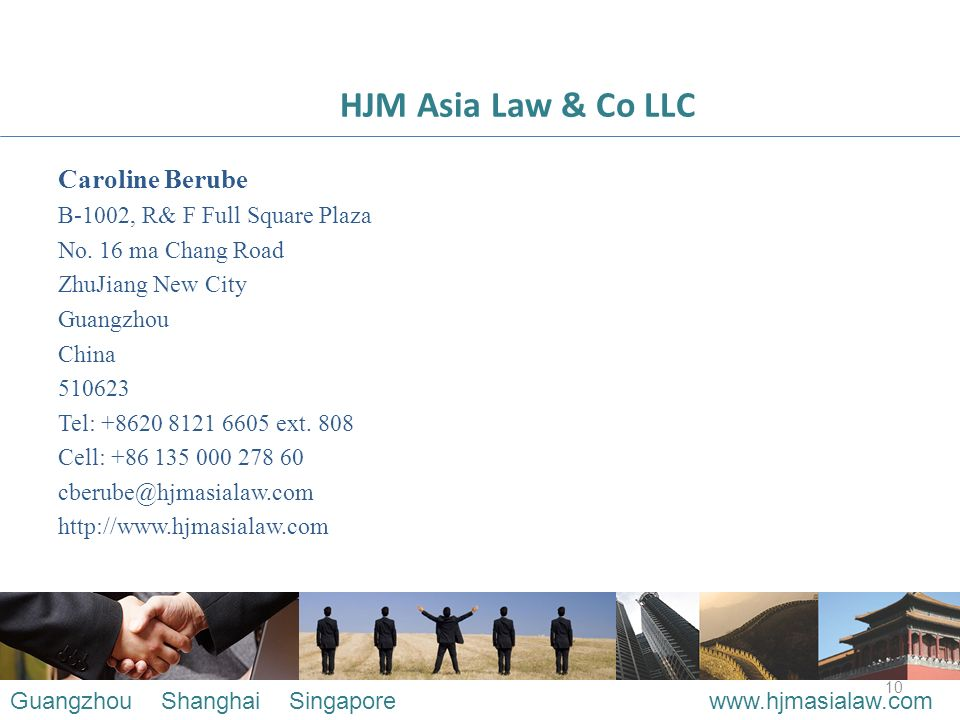10 HJM Asia Law & Co LLC Caroline Berube B-1002, R& F Full Square Plaza No.