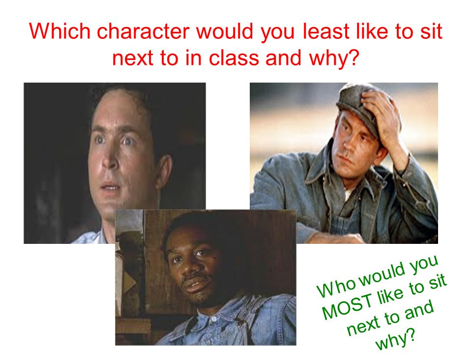 Which character would you least like to sit next to in class and why.