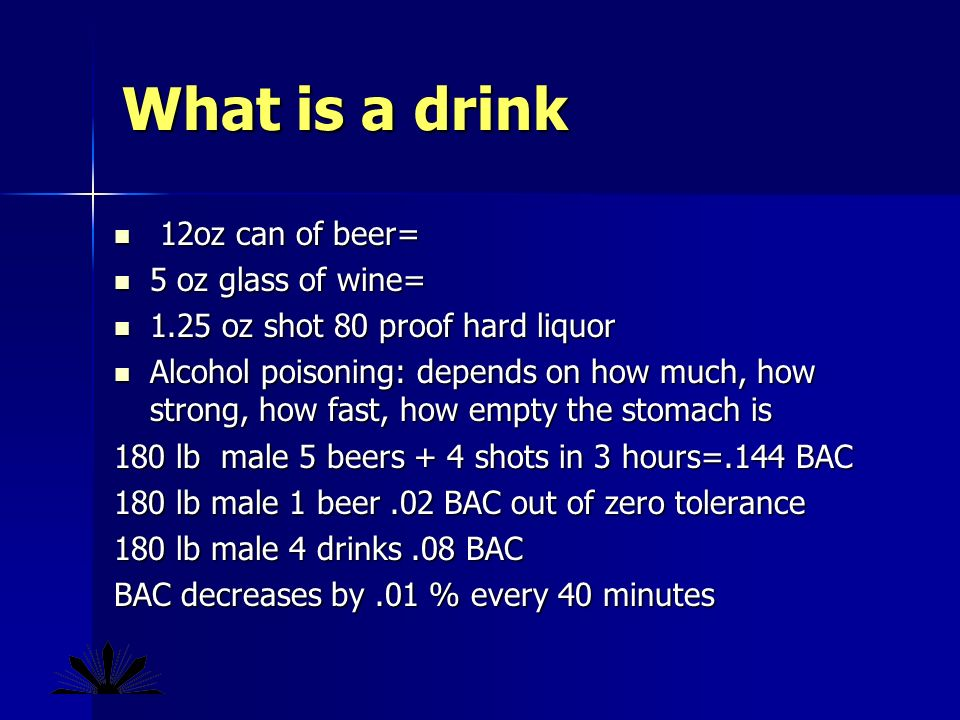 What is a drink 12oz can of beer= 12oz can of beer= 5 oz glass of wine= 5 oz glass of wine= 1.25 oz shot 80 proof hard liquor 1.25 oz shot 80 proof hard liquor Alcohol poisoning: depends on how much, how strong, how fast, how empty the stomach is Alcohol poisoning: depends on how much, how strong, how fast, how empty the stomach is 180 lb male 5 beers + 4 shots in 3 hours=.144 BAC 180 lb male 1 beer.02 BAC out of zero tolerance 180 lb male 4 drinks.08 BAC BAC decreases by.01 % every 40 minutes