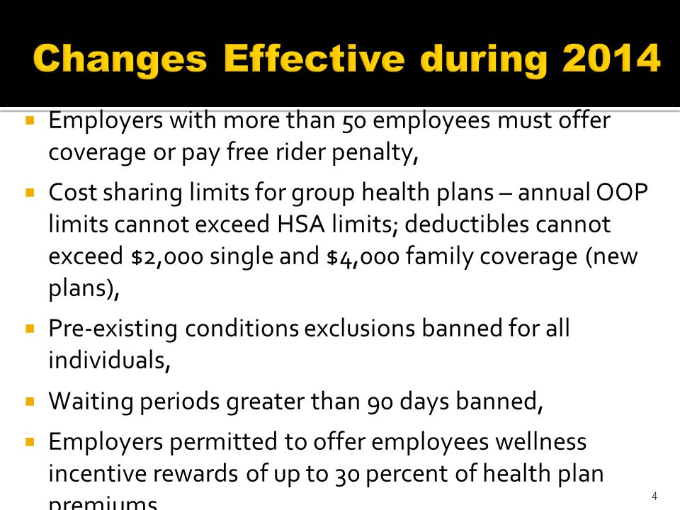 Employers with more than 50 employees must offer coverage or pay free rider penalty, Cost sharing limits for group health plans – annual OOP limits cannot exceed HSA limits; deductibles cannot exceed $2,000 single and $4,000 family coverage (new plans), Pre-existing conditions exclusions banned for all individuals, Waiting periods greater than 90 days banned, Employers permitted to offer employees wellness incentive rewards of up to 30 percent of health plan premiums.