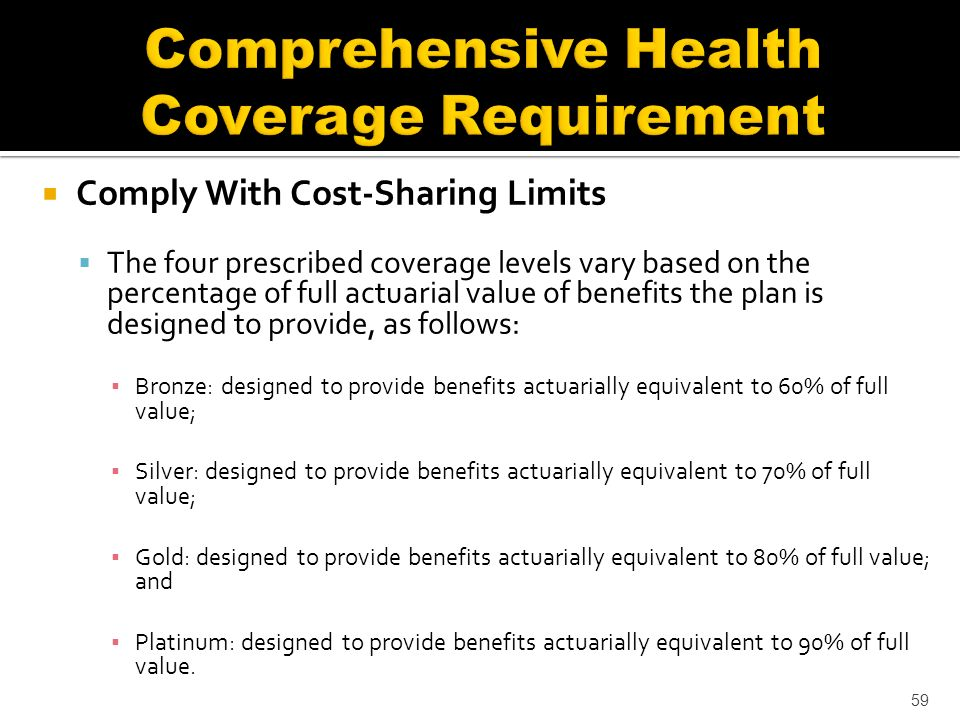 Comply With Cost-Sharing Limits The four prescribed coverage levels vary based on the percentage of full actuarial value of benefits the plan is designed to provide, as follows: Bronze: designed to provide benefits actuarially equivalent to 60% of full value; Silver: designed to provide benefits actuarially equivalent to 70% of full value; Gold: designed to provide benefits actuarially equivalent to 80% of full value; and Platinum: designed to provide benefits actuarially equivalent to 90% of full value.