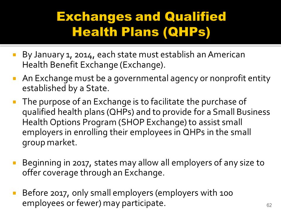By January 1, 2014, each state must establish an American Health Benefit Exchange (Exchange).