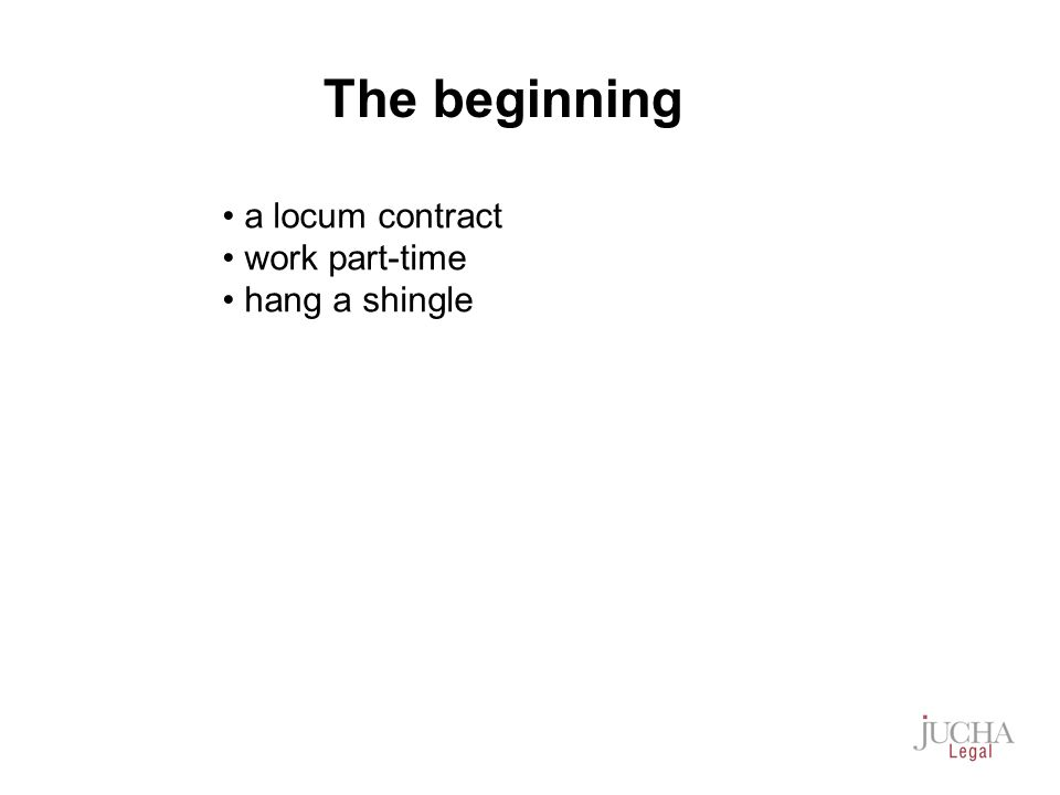 a locum contract work part-time hang a shingle The beginning