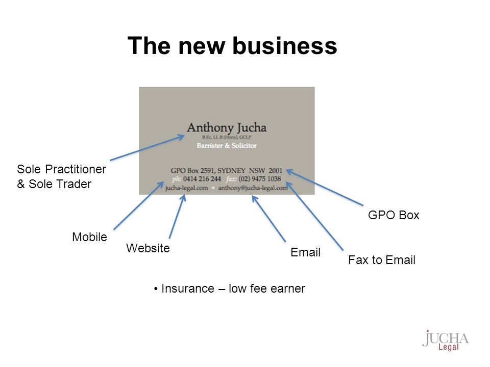 Sole Practitioner & Sole Trader GPO Box Mobile Fax to Email Email Website Insurance – low fee earner The new business