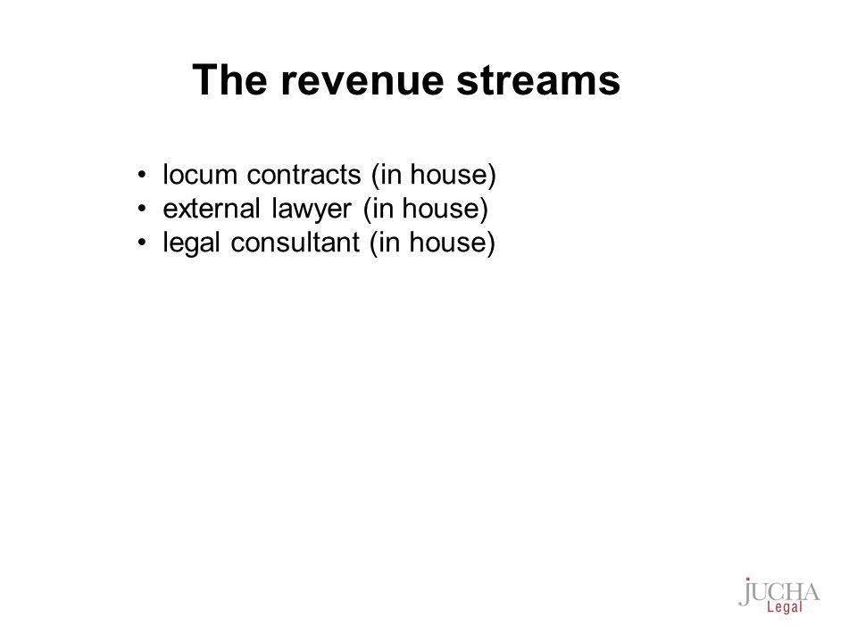locum contracts (in house) external lawyer (in house) legal consultant (in house) The revenue streams
