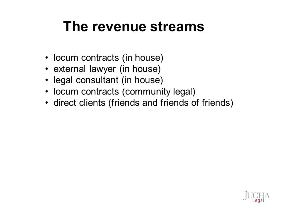 locum contracts (in house) external lawyer (in house) legal consultant (in house) locum contracts (community legal) direct clients (friends and friends of friends) The revenue streams