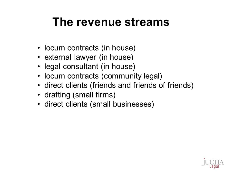 locum contracts (in house) external lawyer (in house) legal consultant (in house) locum contracts (community legal) direct clients (friends and friends of friends) drafting (small firms) direct clients (small businesses) The revenue streams