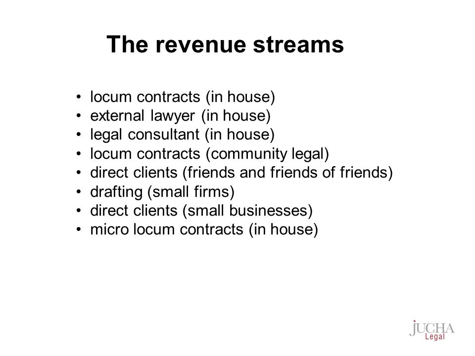locum contracts (in house) external lawyer (in house) legal consultant (in house) locum contracts (community legal) direct clients (friends and friends of friends) drafting (small firms) direct clients (small businesses) micro locum contracts (in house) The revenue streams