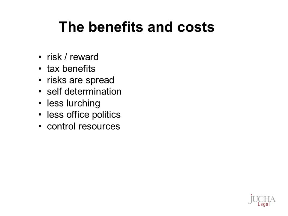 risk / reward tax benefits risks are spread self determination less lurching less office politics control resources The benefits and costs