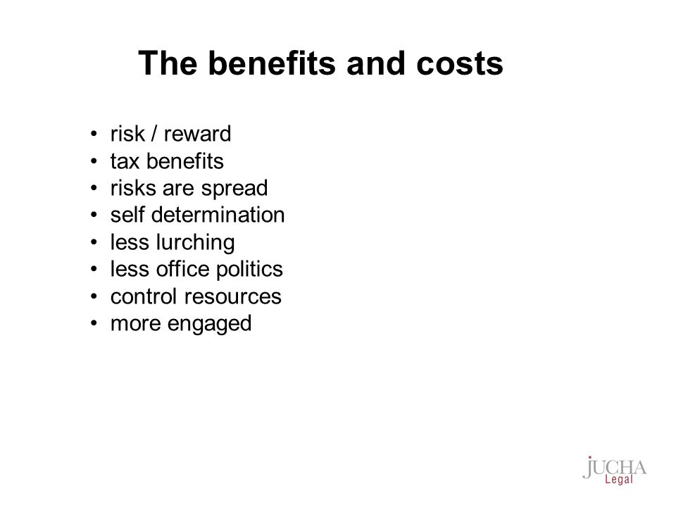 risk / reward tax benefits risks are spread self determination less lurching less office politics control resources more engaged The benefits and costs
