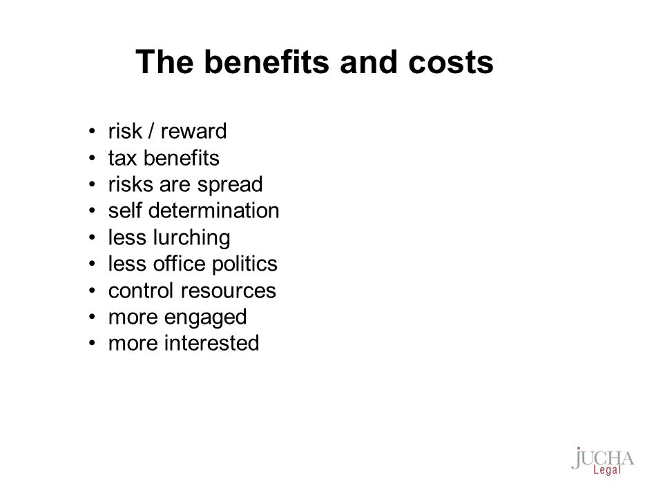 risk / reward tax benefits risks are spread self determination less lurching less office politics control resources more engaged more interested The benefits and costs