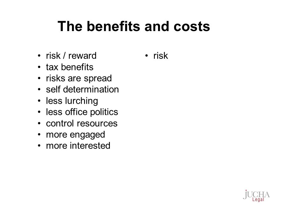 risk / reward tax benefits risks are spread self determination less lurching less office politics control resources more engaged more interested risk The benefits and costs