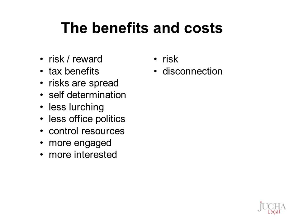risk / reward tax benefits risks are spread self determination less lurching less office politics control resources more engaged more interested risk disconnection The benefits and costs