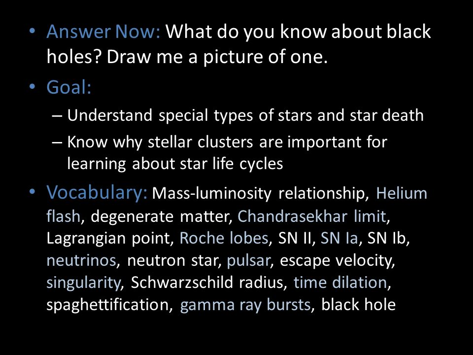 Answer Now: What do you know about black holes. Draw me a picture of one.