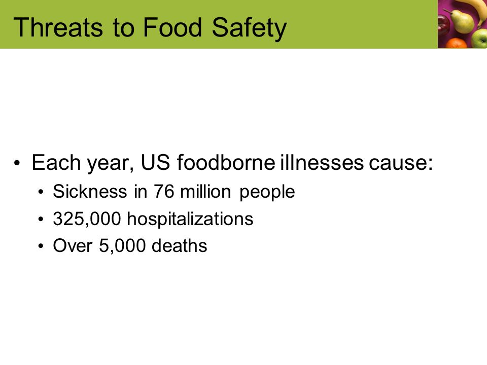 Threats to Food Safety Each year, US foodborne illnesses cause: Sickness in 76 million people 325,000 hospitalizations Over 5,000 deaths
