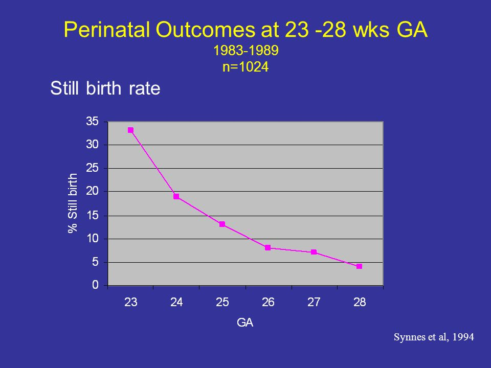 Perinatal Outcomes at 23 -28 wks GA 1983-1989 n=1024 Still birth rate Synnes et al, 1994