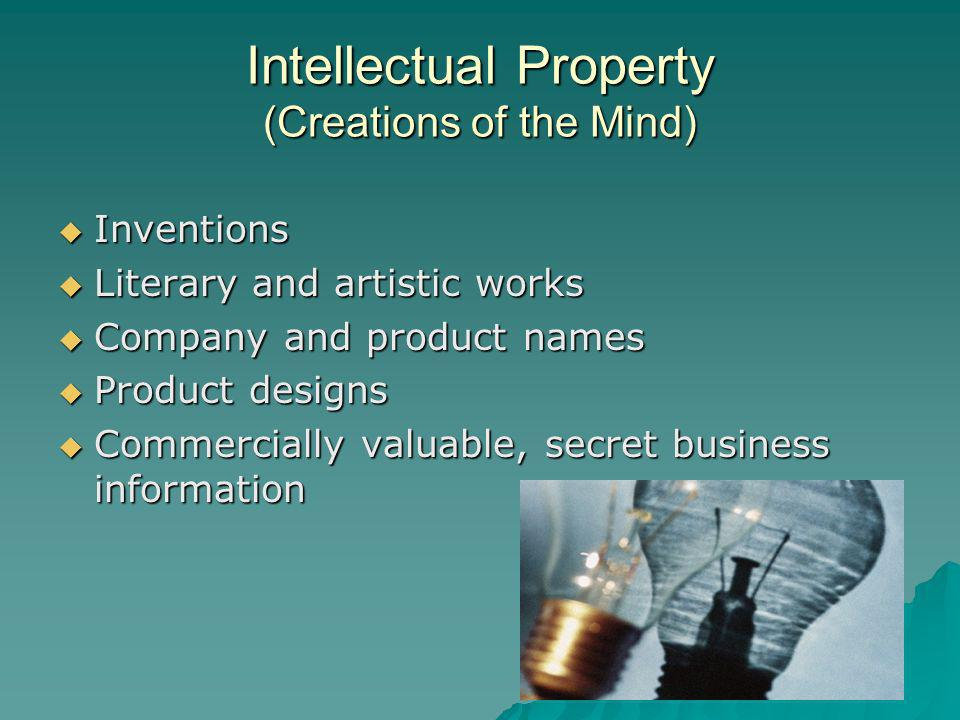 Intellectual Property (Creations of the Mind) Inventions Inventions Literary and artistic works Literary and artistic works Company and product names Company and product names Product designs Product designs Commercially valuable, secret business information Commercially valuable, secret business information