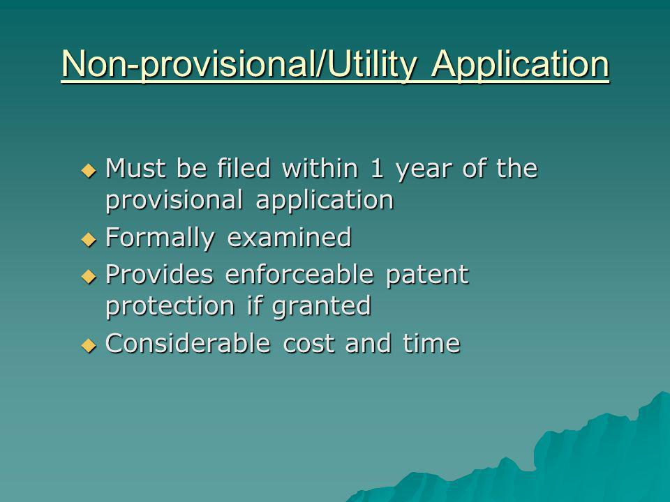 Non-provisional/Utility Application Must be filed within 1 year of the provisional application Must be filed within 1 year of the provisional application Formally examined Formally examined Provides enforceable patent protection if granted Provides enforceable patent protection if granted Considerable cost and time Considerable cost and time