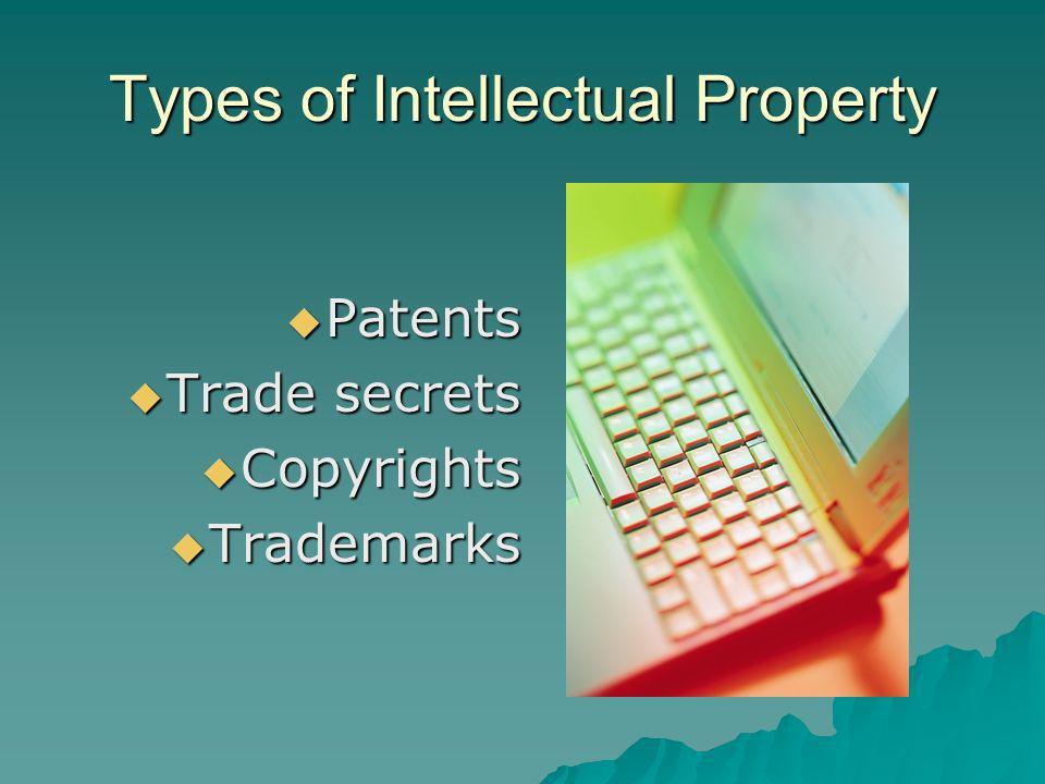 Types of Intellectual Property Patents Patents Trade secrets Trade secrets Copyrights Copyrights Trademarks Trademarks
