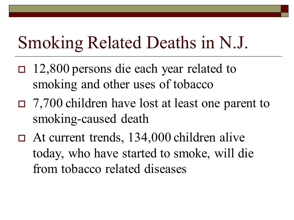 Smoking Related Deaths in N.J.
