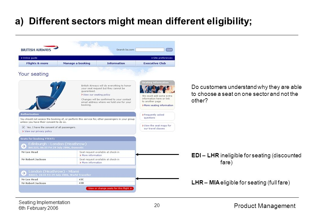 Product Management Seating Implementation 6th February 2006 20 a) Different sectors might mean different eligibility; Do customers understand why they are able to choose a seat on one sector and not the other.